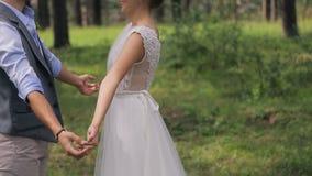 κράτημα χεριών νεόνυμφων νυφών σε έναν βλαστό φωτογραφιών στη ημέρα γάμου απόθεμα βίντεο