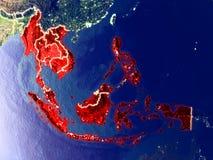 Κράτη μέλη της ASEAN στη γη τη νύχτα στοκ εικόνα