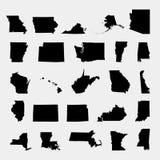 Κράτη του εδάφους της Αμερικής στο γκρίζο υπόβαθρο απεικόνιση αποθεμάτων