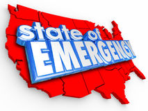 Κράτος των τρισδιάστατων λέξεων Ηνωμένες Πολιτείες Αμερική εθνικό Crisi έκτακτης ανάγκης Στοκ φωτογραφίες με δικαίωμα ελεύθερης χρήσης