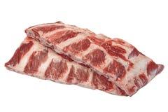 Κρέας βόειου κρέατος Ακατέργαστα μαύρα πλευρά βόειου κρέατος του Angus Marbled που απομονώνονται Στοκ Εικόνες