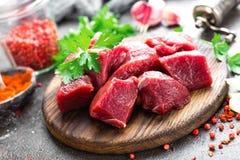κρέας βόειου κρέατος ακ&al Φρέσκο τεμαχισμένο κόντρα φιλέτο βόειου κρέατος Στοκ Φωτογραφίες