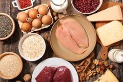 Κρέας, γαλακτοκομείο αυγών και δημητριακά στοκ φωτογραφία