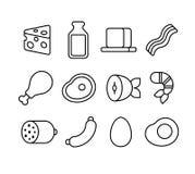 Κρέας και γαλακτοκομικά εικονίδια γραμμών Στοκ Εικόνα