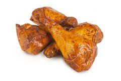 Κρέας και λουκάνικα στο άσπρο backgroung Στοκ Εικόνες