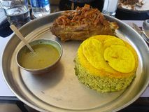 Κρέας και ρύζι στοκ εικόνα