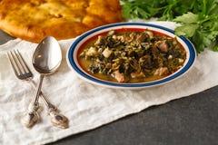 Κρέας και σούπα πρασίνων από το αρνί με ένα κουτάλι με τα πράσινα στοκ εικόνες