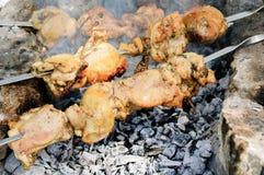 Κρέας κοτόπουλου στα οβελίδια στις πέτρες πέρα από τον ξυλάνθρακα Στοκ εικόνα με δικαίωμα ελεύθερης χρήσης