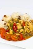 Κρέας κοτόπουλου με το ρύζι Στοκ εικόνες με δικαίωμα ελεύθερης χρήσης