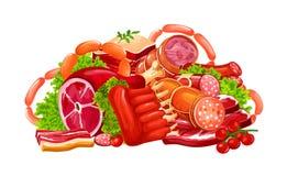 Κρέας, λουκάνικα και λιχουδιές κρεοπωλείων, διάνυσμα απεικόνιση αποθεμάτων