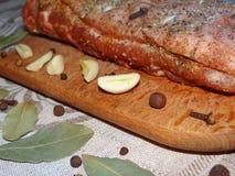 Κρέας με τα καρυκεύματα Στοκ εικόνα με δικαίωμα ελεύθερης χρήσης