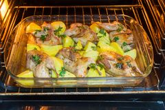 Κρέας ορτυκιών που ψήνεται στο φούρνο Πρόσφατα μαγειρευμένα ορτύκια με ένα δευτερεύον πιάτο των καινούριων πατατών και του μαϊντα Στοκ φωτογραφία με δικαίωμα ελεύθερης χρήσης
