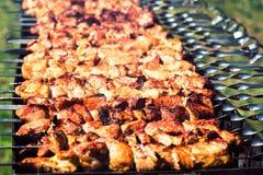 Κρέας που ψήνεται στη σχάρα πυρκαγιάς kebabs στη σχάρα Στοκ Φωτογραφίες