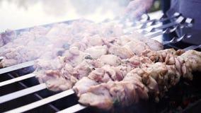 Κρέας που ψήνεται στη σχάρα στα οβελίδια στη σχάρα φιλμ μικρού μήκους
