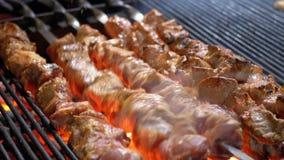 Κρέας που ψήνεται στη σχάρα στα οβελίδια στη σχάρα στην αγορά οδών απόθεμα βίντεο