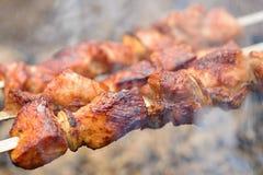Κρέας στην πυρκαγιά Στοκ Φωτογραφία