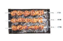 Κρέας στη τοπ άποψη οβελιδίων Στοκ εικόνα με δικαίωμα ελεύθερης χρήσης