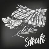 Κρέας τροφίμων, μπριζόλα, σύνολο ψητού, καλλιγραφικό κείμενο, συρμένο χέρι διανυσματικό ρεαλιστικό σκίτσο απεικόνισης, που επισύρ ελεύθερη απεικόνιση δικαιώματος