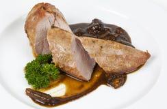 Κρέας χοιρινού κρέατος με τα μανιτάρια Στοκ εικόνες με δικαίωμα ελεύθερης χρήσης