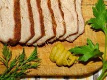 Κρέας, χοιρινό κρέας που ψήνεται Στοκ Φωτογραφία