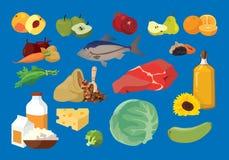 Κρέας, ψάρια, βούτυρο, φρούτα, λαχανικά, γαλακτοκομικά προϊόντα χρήσιμο π διανυσματική απεικόνιση