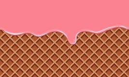 Κρέμα που λειώνουν στο υπόβαθρο γκοφρετών σοκολάτας Επίπεδο ύφος χρώματος Στοκ Εικόνες