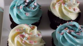 Κρέμα συμπιέσεων αρχιμαγείρων Τήξη σοκολάτας στο κέικ Άσπρο κέικ που καλύπτεται με τη σοκολάτα και την κρέμα Διακόσμηση κέικ σοκο απόθεμα βίντεο