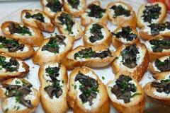 Κρέμα Bruschetta μανιταριών (Brushetta) στοκ εικόνα