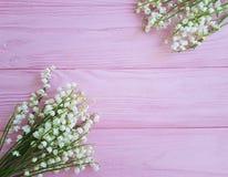 κρίνοι της κοιλάδας στα ρόδινα ξύλινα λουλούδια άνοιξη στοκ εικόνα με δικαίωμα ελεύθερης χρήσης
