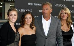 Κρίνος Costner, Annie Costner, Kevin Costner και σύζυγος Christine Baumgartner Στοκ Εικόνες