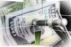 Κρίση προϋπολογισμών που βάζει μια συμπίεση στα χρήματά σας Στοκ Εικόνα