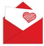 Κραγιόνι καρδιών στο κόκκινο διάνυσμα φακέλων ελεύθερη απεικόνιση δικαιώματος