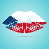 Κραγιόν σημαιών Δημοκρατίας της Τσεχίας στα χείλια που απομονώνονται σε ένα άσπρο υπόβαθρο επίσης corel σύρετε το διάνυσμα απεικό Στοκ φωτογραφία με δικαίωμα ελεύθερης χρήσης