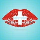 Κραγιόν σημαιών της Ελβετίας στα χείλια σε ένα άσπρο υπόβαθρο επίσης corel σύρετε το διάνυσμα απεικόνισης Στοκ Φωτογραφίες
