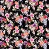 Κρανία και λουλούδια ελαφιών πρότυπο άνευ ραφής watercolor Στοκ Φωτογραφίες