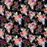 Κρανία και λουλούδια ελαφιών πρότυπο άνευ ραφής watercolor Στοκ Εικόνες