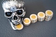 Κρανίο αποκριών με τους σωρούς των νομισμάτων στην επίδειξη στοκ εικόνες