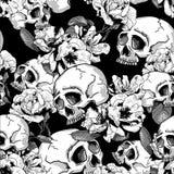 Κρανίο και άνευ ραφής υπόβαθρο λουλουδιών Στοκ Φωτογραφία