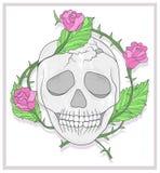 Κρανίο και απεικόνιση τριαντάφυλλων απεικόνιση αποθεμάτων