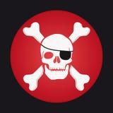 Κρανίο και κόκκαλα, eyepatch πειρατής Στοκ εικόνες με δικαίωμα ελεύθερης χρήσης