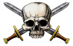 Κρανίο και σημάδι του σταυρού ξιφών ελεύθερη απεικόνιση δικαιώματος
