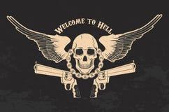 Κρανίο και δύο πιστόλια ελεύθερη απεικόνιση δικαιώματος