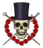 Κρανίο κινούμενων σχεδίων στο καπέλο κυλίνδρων, με ένα ραβδί περπατήματος, rapier και μια καρδιά των κόκκινων τριαντάφυλλων Στοκ Εικόνα
