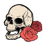 Κρανίο με δύο τριαντάφυλλα επίσης corel σύρετε το διάνυσμα απεικόνισης απεικόνιση αποθεμάτων