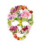 Κρανίο με τα λουλούδια για αποκριές watercolor Στοκ Φωτογραφίες