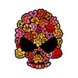 Κρανίο με τα τριαντάφυλλα Πέταλα του κεφαλιού σκελετών λουλουδιών Όμορφο rem Στοκ Φωτογραφίες