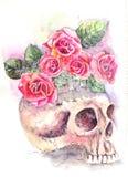 Κρανίο με τα τριαντάφυλλα Στοκ εικόνα με δικαίωμα ελεύθερης χρήσης