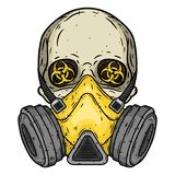 κρανίο Κρανίο με τη μάσκα αερίου Κρανίο με την αναπνευστική συσκευή διανυσματική απεικόνιση