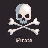 Κρανίο πειρατών και σημάδι κόκκαλων Στοκ φωτογραφία με δικαίωμα ελεύθερης χρήσης
