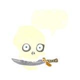 κρανίο πειρατών κινούμενων σχεδίων με το μαχαίρι στα δόντια με τη λεκτική φυσαλίδα Στοκ φωτογραφίες με δικαίωμα ελεύθερης χρήσης